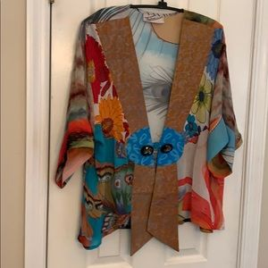 Sterling Styles art silk frog closure boho jacket